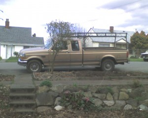My Truck, the bio-beast, 1995 F250 Powerstroke Supercab (for the dog), it is a lot of thing, but it is not pink (nor is it Rosé)...