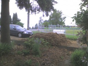 The remains of the giant pile in our driveway